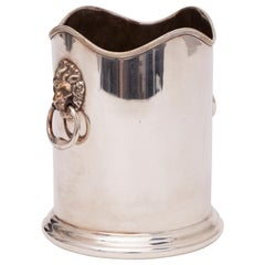 Silver Plate Ice Bucket with Lions Head Handles by William Shirtcliffe & Son