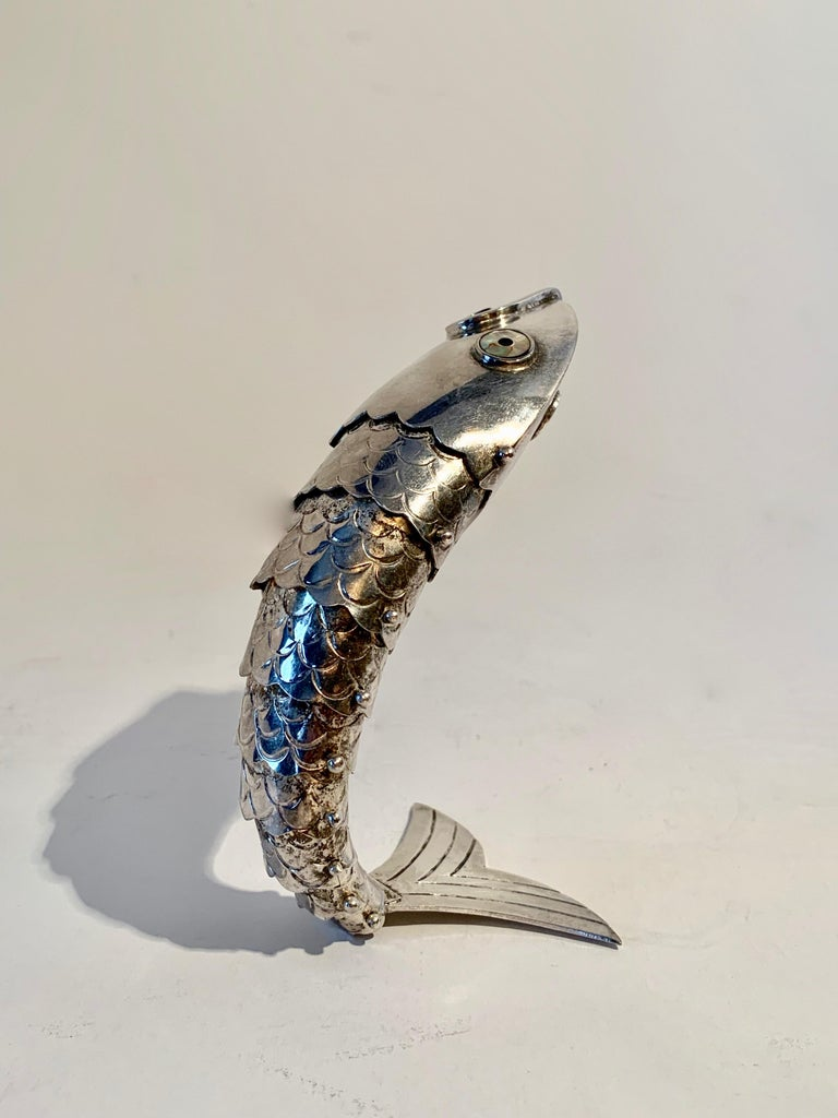 Silver Plate Mexican Articulated Fish Bottle Opener For Sale 2