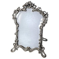 Silver Plate Mirror, Art Nouveau Period. France, circa 1890