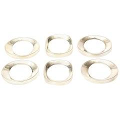 Silver Plate Modernist Sculptural Napkin Rings, Set of 6
