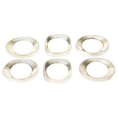 Silver Plate Modernist Sculptural Napkin Rings Set of 6 Vintage
