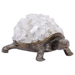 Silver Plate over Brass Turtle Sculpture with a Quartz Crystal Stone Shell