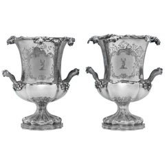 Victorian Antique Silver Plated Pair of Wine Coolers by Elkington, Mason & Co.