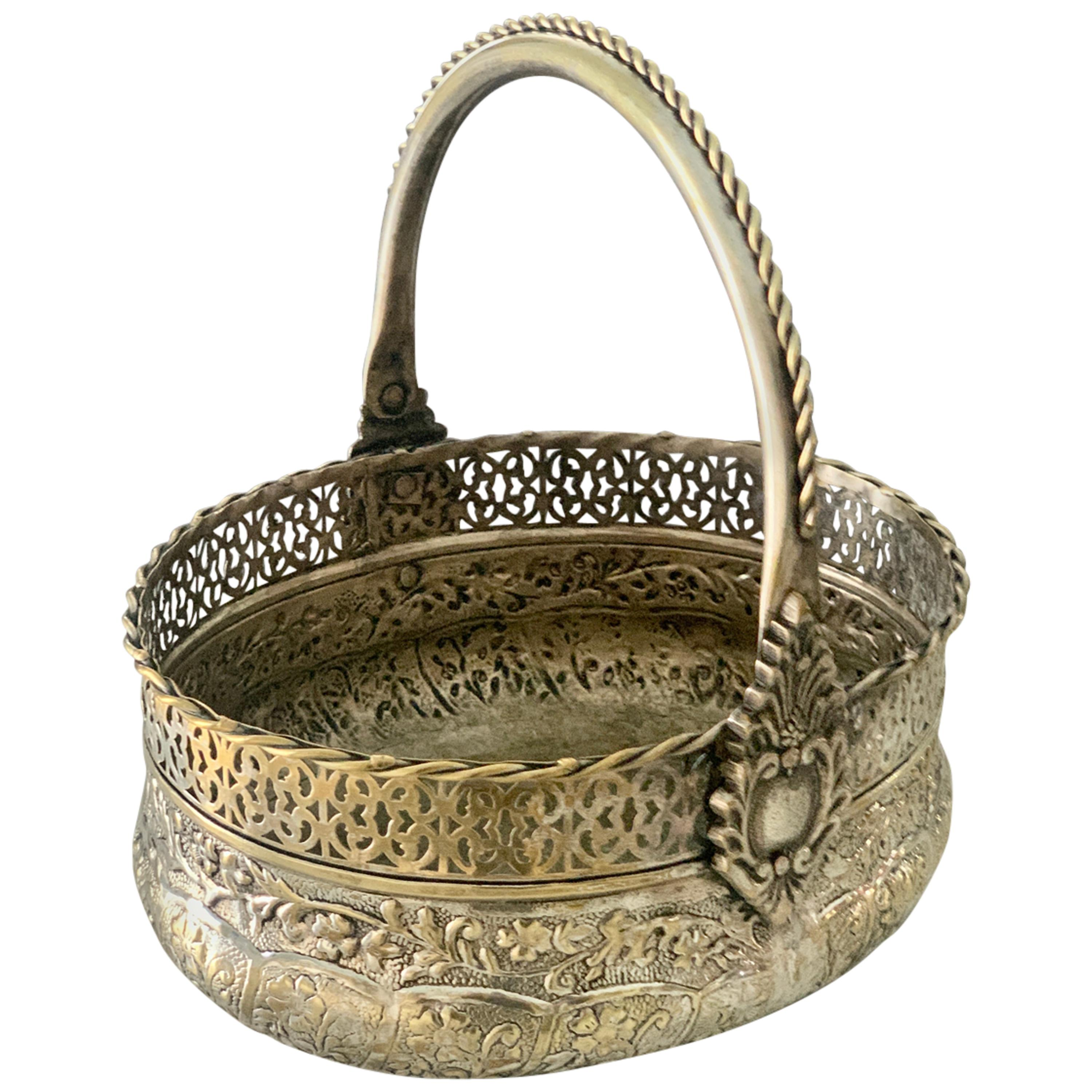 Silver Plate Repousse Basket with Handle