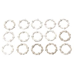 Silver-Plate Set of 15 Bamboo Design Napkin Rings Vintage