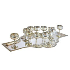 Silver Plate Shot Glass Set with Tray