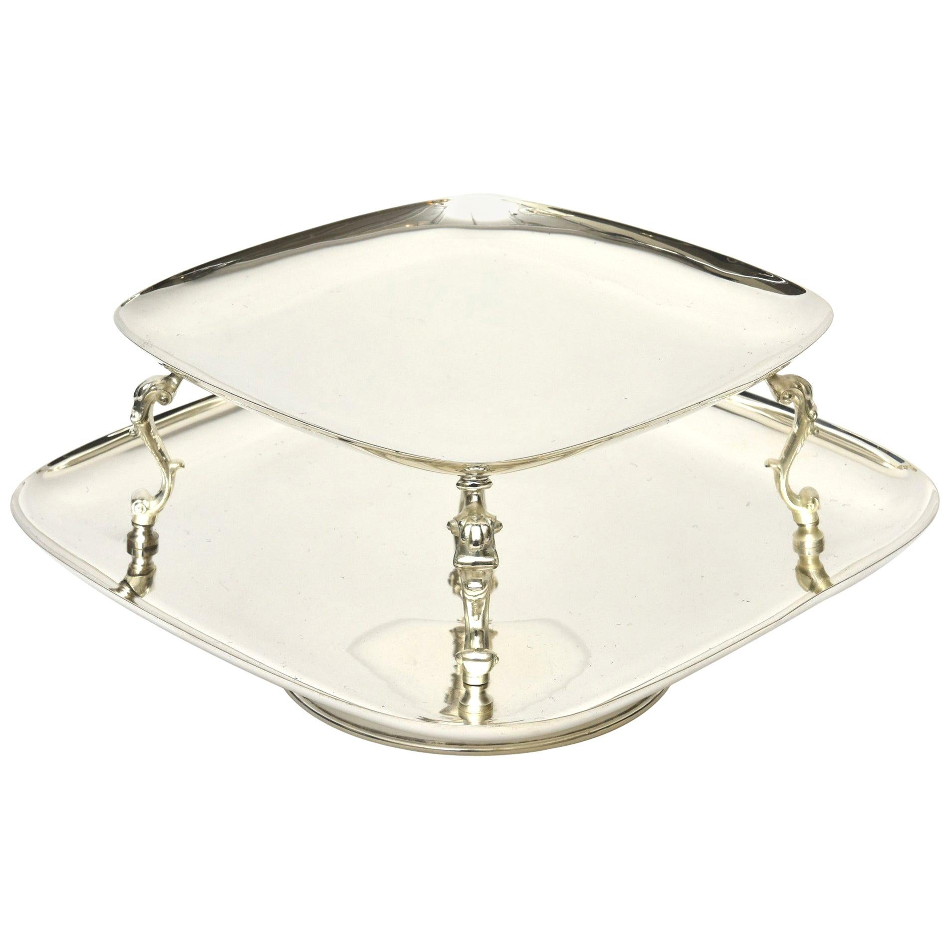Silver Plate Swivel Serving Caddy or Serving Piece