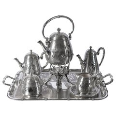 Silver Plate Tea and Coffee Set, Bamboo Model by Christofle, France, circa 1890