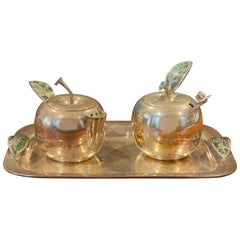 """Silver Plate & Turquoise """"Apple"""" Cream and Sugar by Los Castillo of Mexico"""