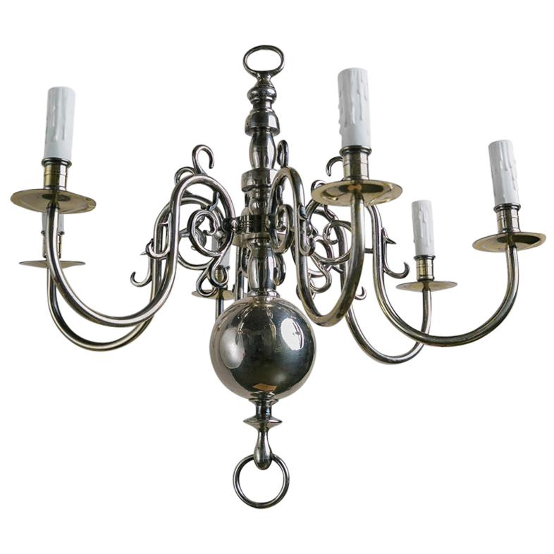 Silver-Plated 6-Arm Chandelier in Simple, Classic Flemish Design