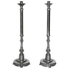Silver Plated Altar Candlesticks, Pair