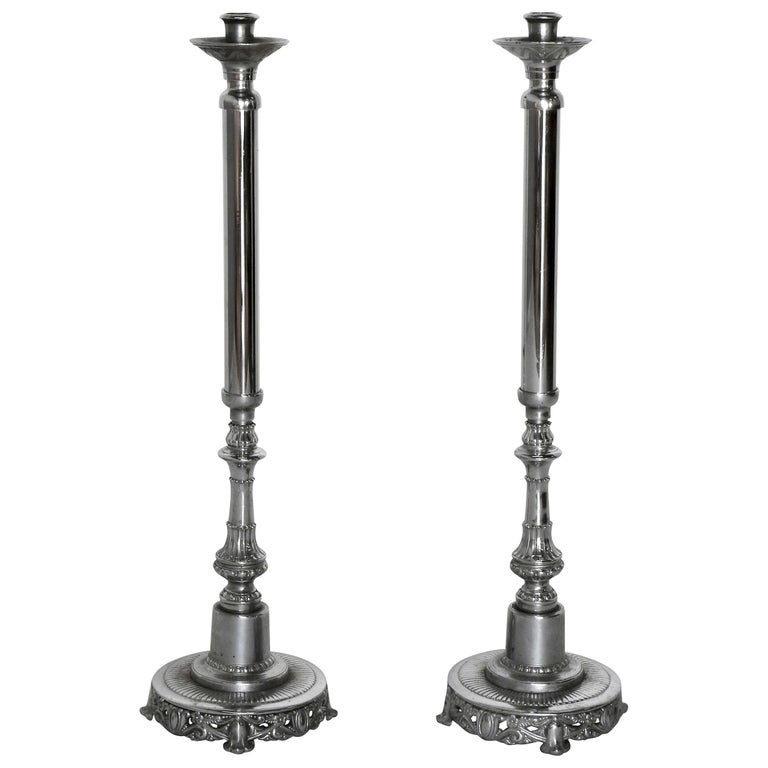 Silver Plated Altar Candlesticks, Pair For Sale