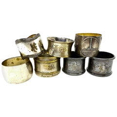 Silver plated Antique Napkin Rings, a Mixed Set of Seven, Various Makers, Europe