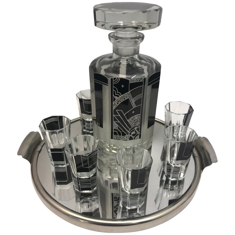 Silver Plated Art Deco Style Drinking Set For Sale