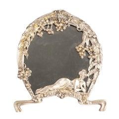 Silver Plated Art Nouveau Figural Woman Mirror