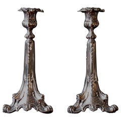 Silver Plated Baroque Couple of Candlesticks, English