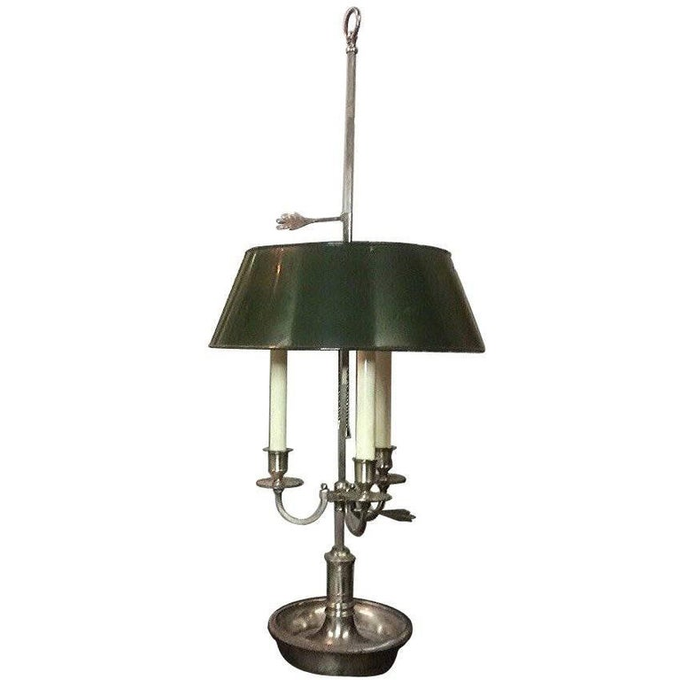 Silver Plated Bouillotte Lamp with Tole Shade
