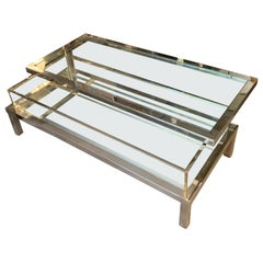 Silver Plated Brass and Glass Vitrine Coffee Table, France, Midcentury