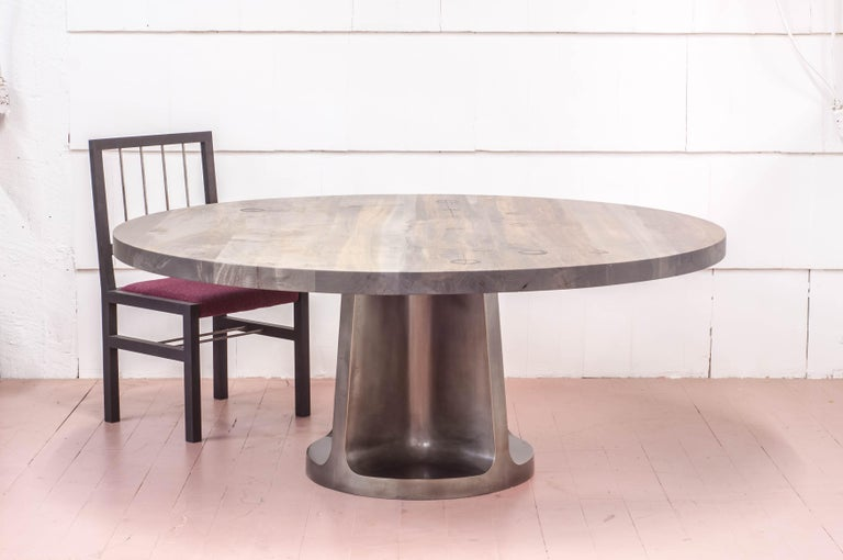 Canadian Silver Plated Bronze Neolith Table in Oxidized Maple For Sale