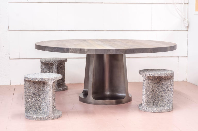 Cast Silver Plated Bronze Neolith Table in Oxidized Maple For Sale