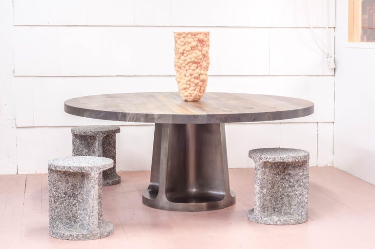 Silver Plated Bronze Neolith Table in Oxidized Maple In New Condition For Sale In Vancouver, BC