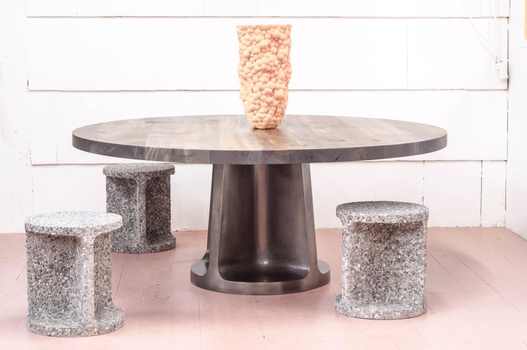 Contemporary Silver Plated Bronze Neolith Table in Oxidized Maple For Sale