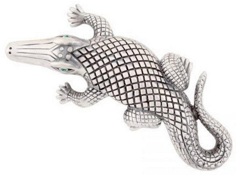 Contemporary Silver-Plated Bronze Stalking Alligators Belt Buckle by John Landrum Bryant For Sale