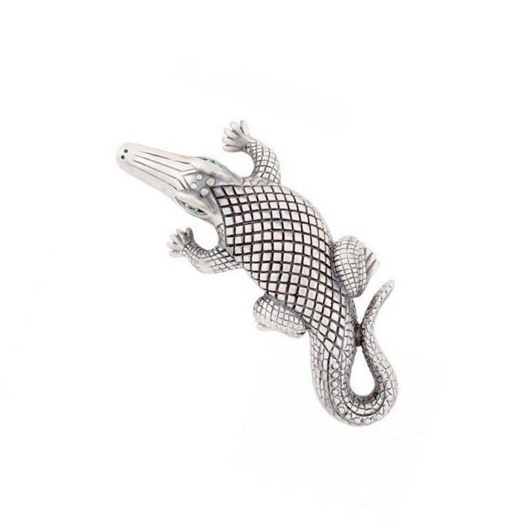 Silver-Plated Bronze Stalking Alligators Belt Buckle by John Landrum Bryant In New Condition For Sale In New York, NY