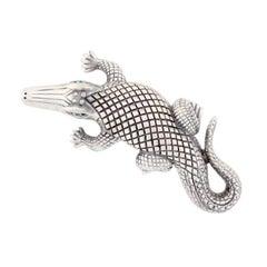 Silver-Plated Bronze Stalking Alligators Belt Buckle by John Landrum Bryant