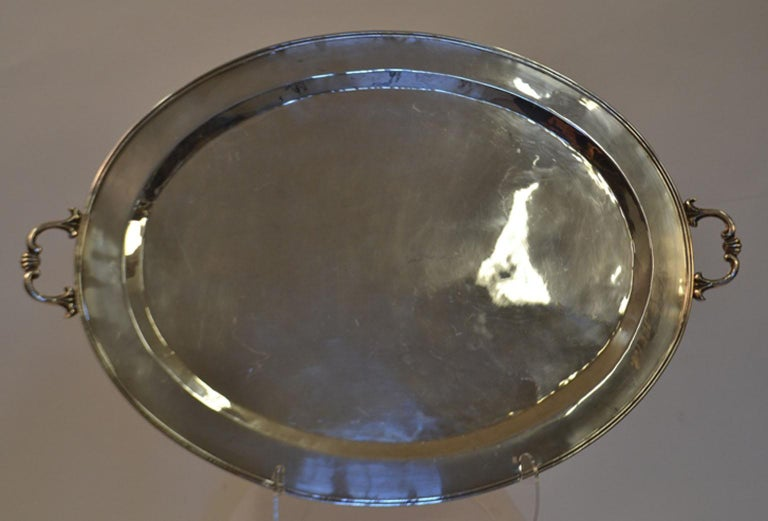European Silver Plated Butler's Tray For Sale
