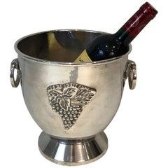 Silver Plated Champagne Bucket with Grappes Decor, French, Circa 1930