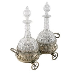 Silver Plated Coaster Wagon and Decanters