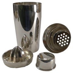 Silver Plated Cocktail Shaker by Christofle, Paris c.1935 with Lemon Squeezer