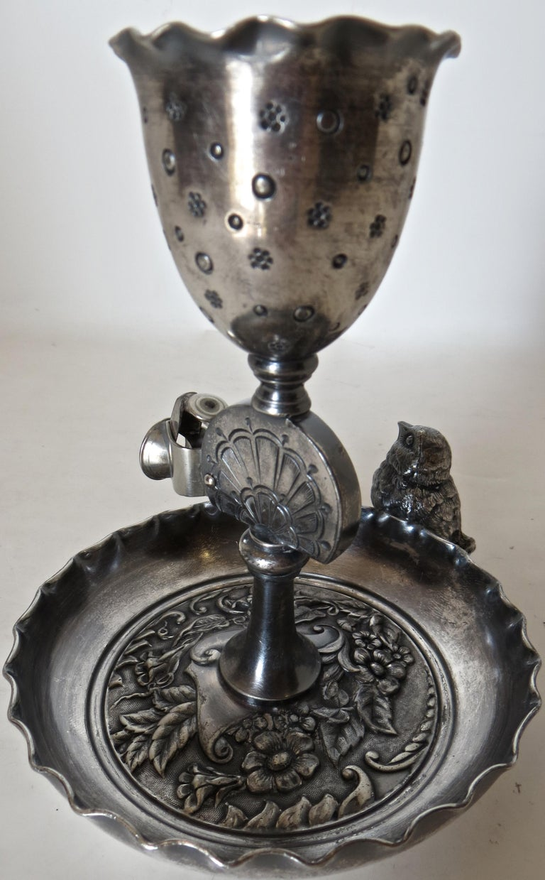 Hand-Crafted Silver Plated Combination Cigar Cutter/Bud Vase by Derby, Connecticut circa 1885 For Sale