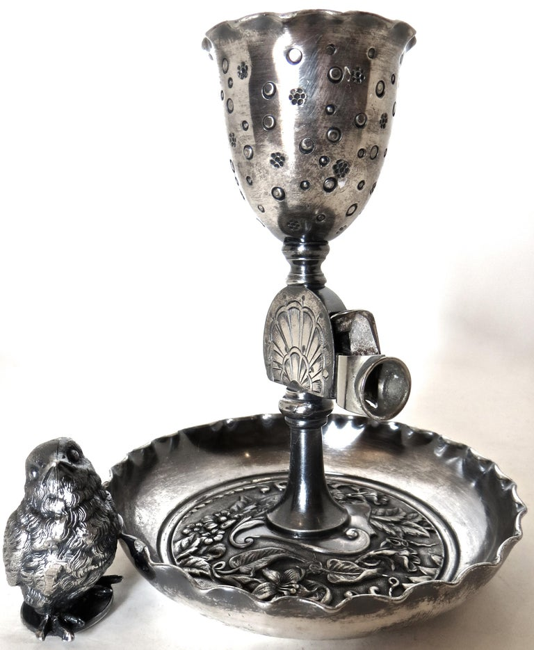 Silver Plated Combination Cigar Cutter/Bud Vase by Derby, Connecticut circa 1885 In Good Condition For Sale In Incline Village, NV