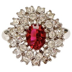 Silver Plated Dark Pink and Clear Rhinestone Cluster Ring