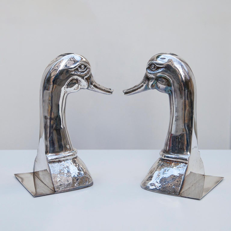 Hollywood Regency Silver Plated Duck Book Ends by Valenti, Spain, 1970s For Sale