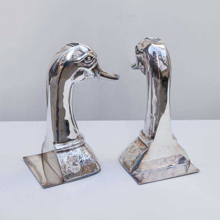 Silver Plated Duck Book Ends by Valenti, Spain, 1970s In Good Condition For Sale In Munich, DE