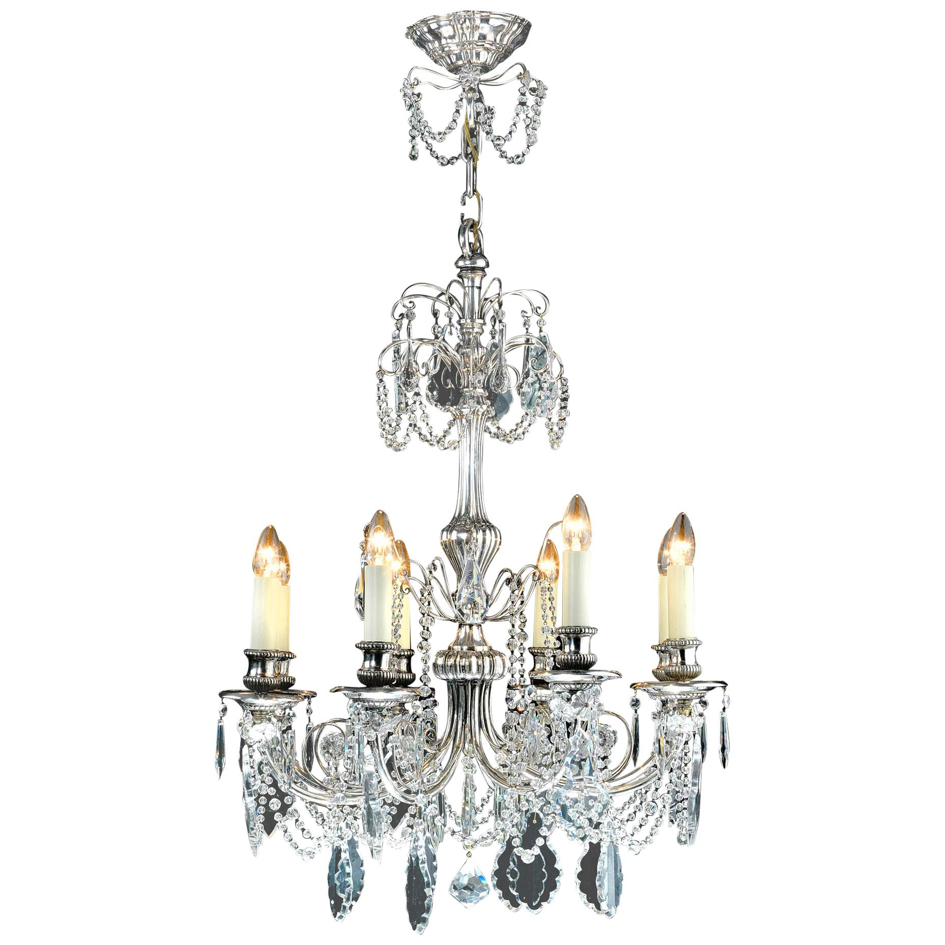 Silver-Plated Eight Light Crystal Chandelier