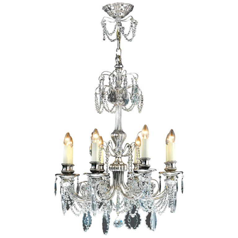 Silver-Plated Eight Light Crystal Chandelier For Sale