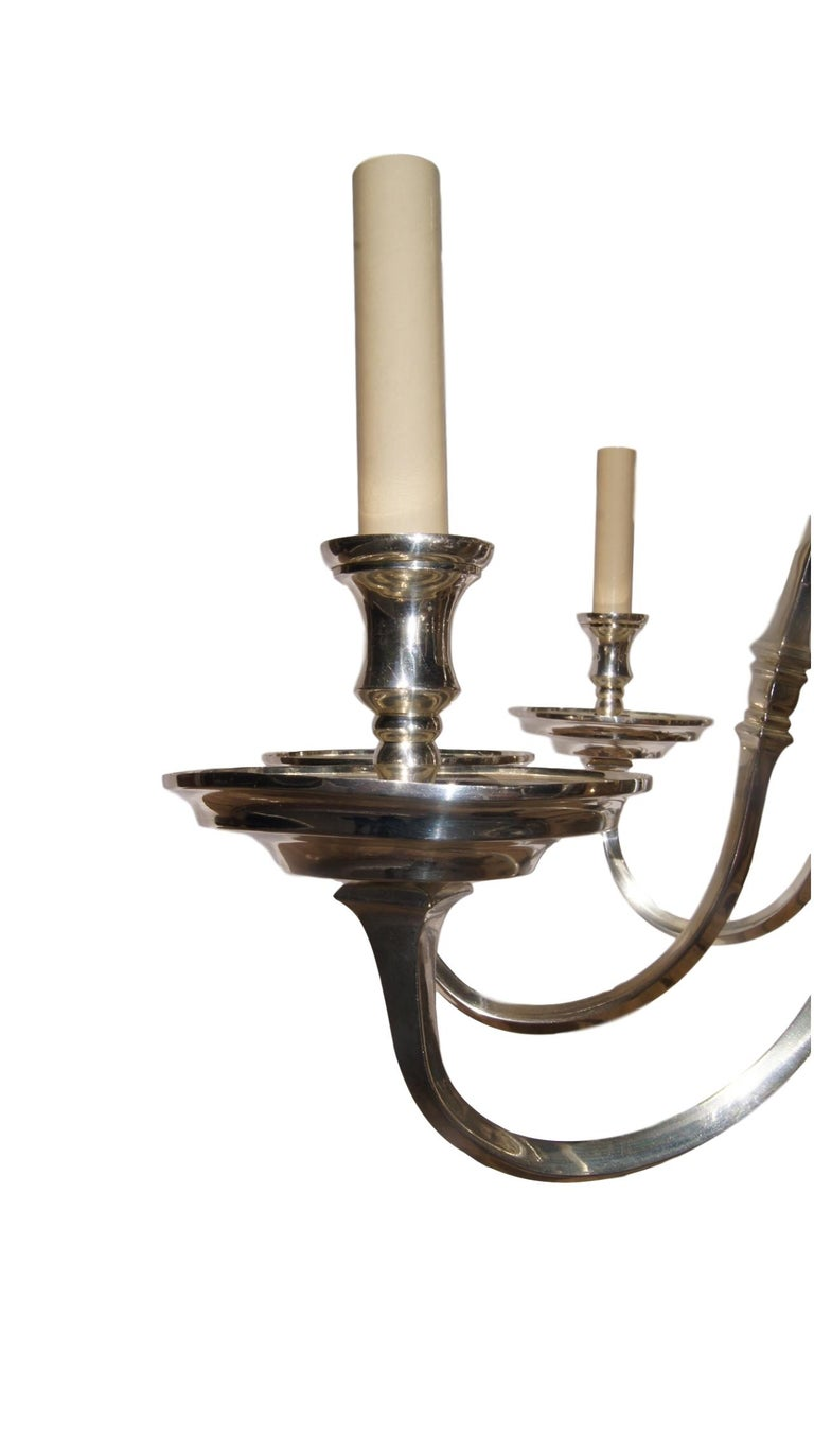 Early 20th Century Silver Plated English Chandelier For Sale