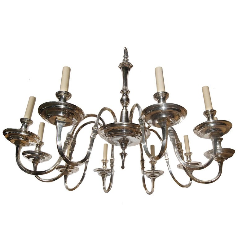 Silver Plated English Chandelier For Sale