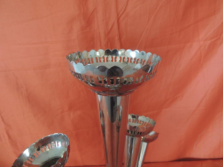 Hollywood Regency Silver Plated Epergne Seven Trumpets Centerpiece For Sale