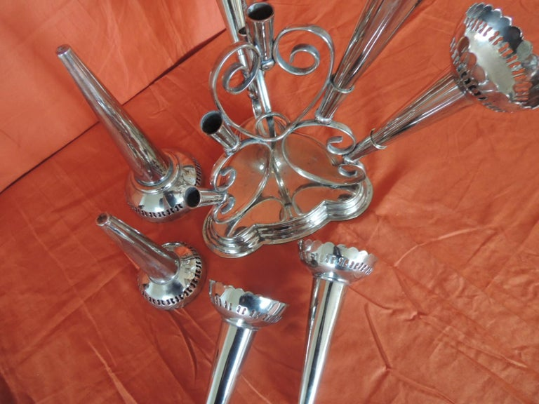 Silver Plated Epergne Seven Trumpets Centerpiece In Good Condition For Sale In Fort Lauderdale, FL