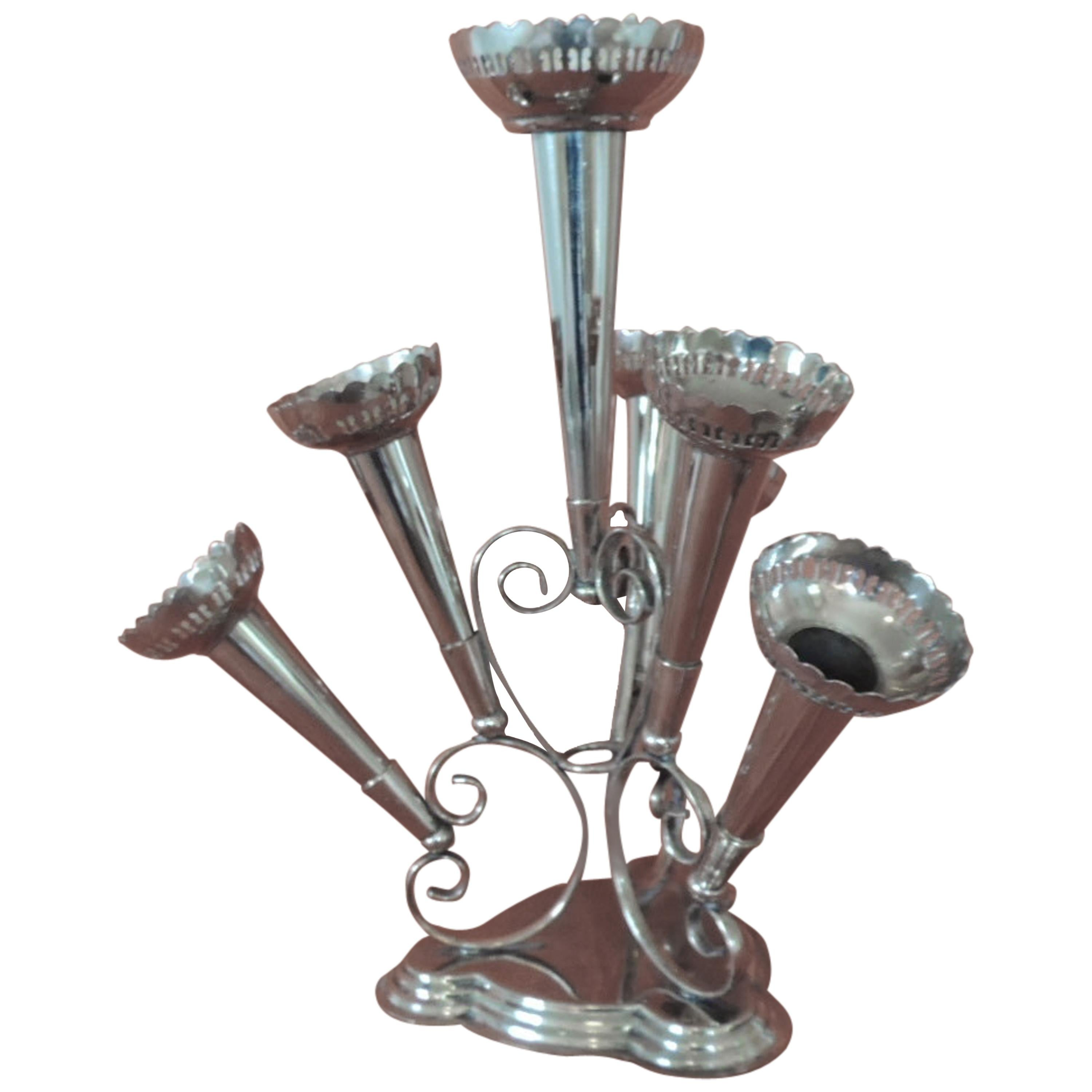 Silver Plated Epergne Seven Trumpets Centerpiece