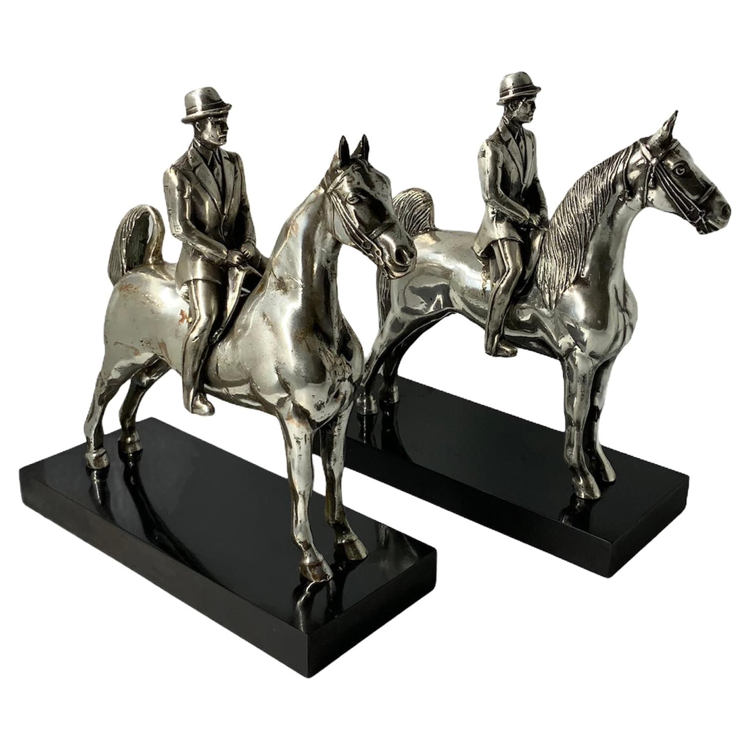 Silver Plated Equestrian Gentlemen Bookends/Trophies