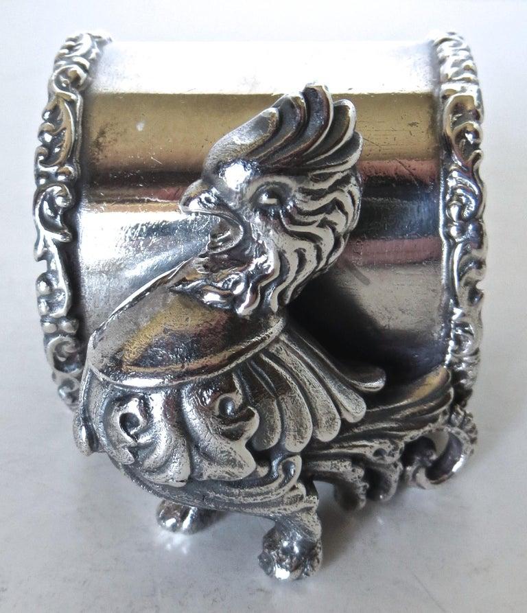 Appliqué Silver Plated Figural Chicken Napkin Ring, American, circa 20th Century For Sale