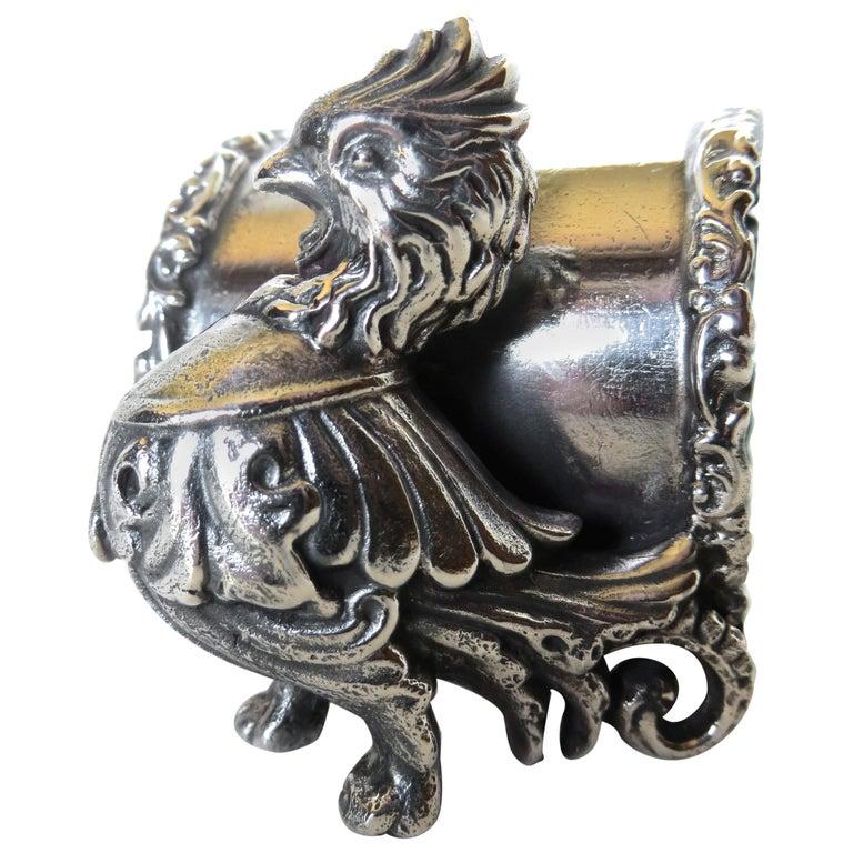 Silver Plated Figural Chicken Napkin Ring, American, circa 20th Century For Sale