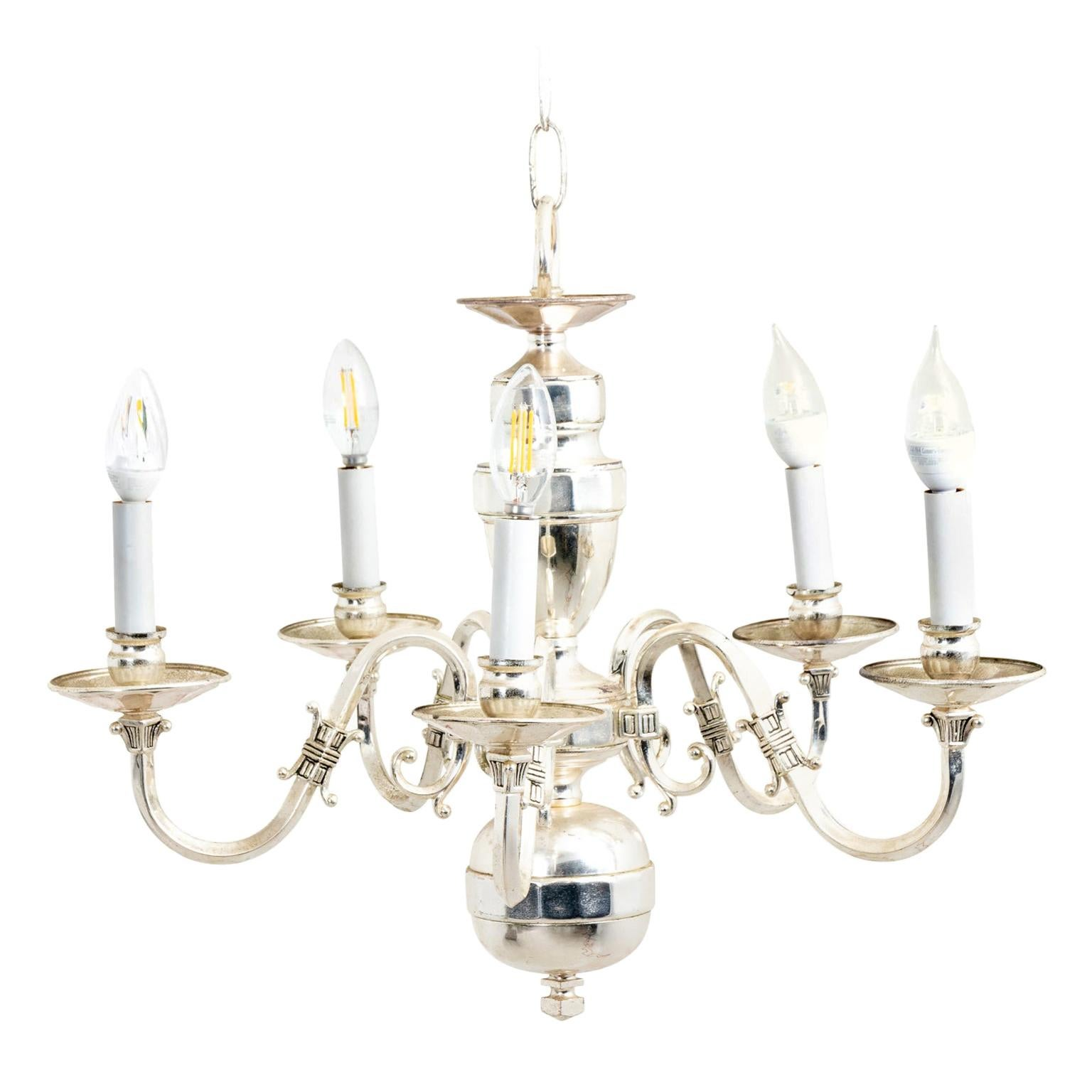 Silver Plated Five-Arm Chandelier