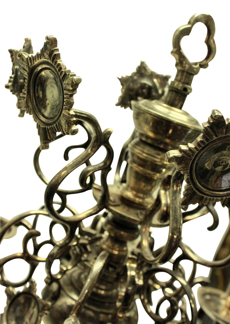 Silver Plated Flemish Chandelier In Good Condition In London, GB